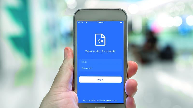 Mobiler Bildschirm für Audiodokumente