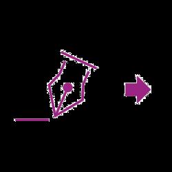 Symbol violetter Unterschriftenpfeil