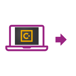 Laptop-Symbol violett